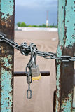 closed door by chain and padlock Royalty Free Stock Images