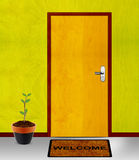 Closed door with coming soon mesage. Coming soon conceptual image, closed door with coming soon mesage Stock Photo