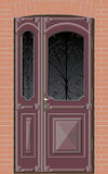 Closed door with grille. Old closed double door with grille on the brick wall background royalty free illustration