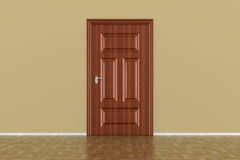 Closed door in hall. 3D illustration Stock Images