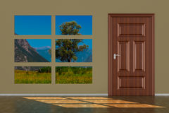 Closed door in hall. 3D illustration Royalty Free Stock Photography