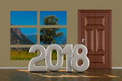Closed door in hall. 2018 year. 3D illustration Royalty Free Stock Photo