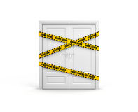 Closed door with police tape: police line do not cross. Stock Image
