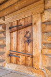 Closed door in wooden house. Building architecture Stock Photo