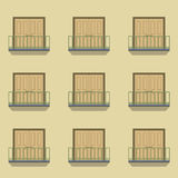 Closed Doors With Balcony Vintage Style Stock Images