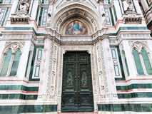 Closed doors of Florence Cathedral in morning Royalty Free Stock Photos