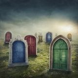 Closed doors in the meadow. Concept of finding a way out stock photography