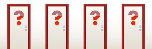 Closed doors with a question mark. In front Royalty Free Stock Photo
