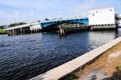 Closed drawbridge, marina & boats, South Florida Stock Image
