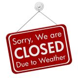 Closed due to weather sign Royalty Free Stock Images