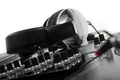 Closed dynamic headphones for DJ Royalty Free Stock Image