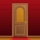 Closed entrance door. And red wall. Vector illustration Royalty Free Stock Image