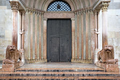 Closed entrance gate of the Cathedral of Modena, Italy Royalty Free Stock Photo