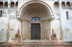 Closed entrance gate of the Cathedral of Modena, Italy Stock Photography