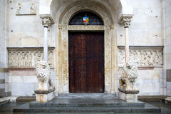 Closed entrance gate of the Cathedral of Modena, Italy Stock Image