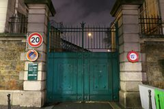 Closed Entrance of Montmartre cemetery. Paris,France-January 20, 2018: Montmartre cemetery is the third largest neropolic in Paris. Its sole entrance is on Royalty Free Stock Photo