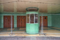 Closed entrance of Plaza theater in Laredo Texas. January 13, 2016 Laredo, Texas, USA: front view of the Plaza theater built in 1950 and is currently closed Royalty Free Stock Photos