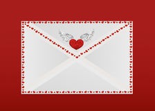 Closed envelope with hearts on the perimeter. Valentine`s Day. Greeting card. Vector illustration Stock Images