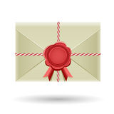 Closed envelope and seal Stock Images