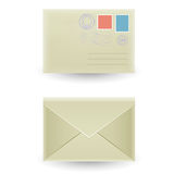 The closed envelope. Two closed envelopes, front and rear view  on the white background Royalty Free Stock Photo