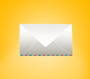 Closed envelope. On a yellow background Stock Images