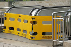 Closed escalator with plastic barrier.  Royalty Free Stock Image