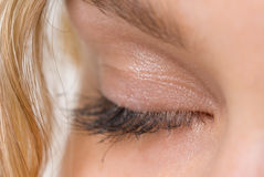 Closed eye. Beautiful woman`s closed eye Royalty Free Stock Image