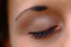 Closed eye. With mascara and picked eyebrow Royalty Free Stock Photo