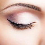 Closed eye. Close-up shot of closed female eye makeup Stock Photos