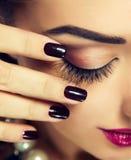 Closed eye with long eyelashes. Stock Images