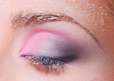 Closed eye with snowy makeup Stock Photography