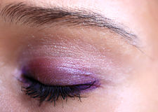 Closed eye of young woman  with makeup. Macro Royalty Free Stock Photos