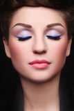 Closed eyes. Close-up portrait of young beautiful woman with stylish make-up and closed-eyes Stock Image
