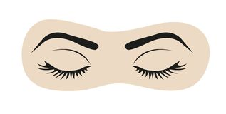 Closed eyes with eyelashes and eyebrows Stock Photos