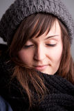 Closed eyes girl with hat and scarf Royalty Free Stock Images