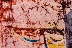 Closed eyes of man, hot batik, background texture, handmade on silk, abstract surrealism art stock photos