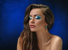 Fashion Makeup blue Royalty Free Stock Photos