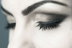 Closed Eyes Smoky Makeup Closeup Royalty Free Stock Images