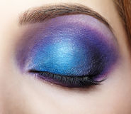 Closed female eye with blue and violet makeup Stock Photos