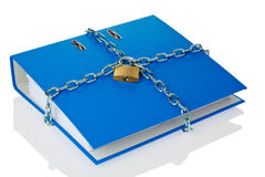 Closed file folder with chain. A file folder with chain and padlock closed. privacy and data security Royalty Free Stock Image