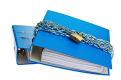 Closed file folder with chain. A file folder with chain and padlock closed. privacy and data security Stock Photography