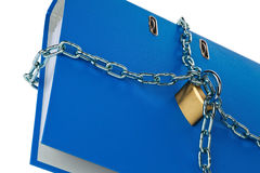 Closed file folder with chain. A file folder with chain and padlock closed. privacy and data security Stock Images