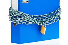 Closed file folder with chain. A file folder with chain and padlock closed. privacy and data security Stock Photo