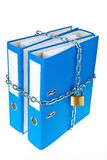 Closed file folder with chain. A file folder with chain and padlock closed. privacy and data security Stock Image