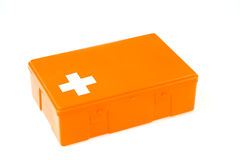 Closed first aid kit isolated on white Stock Photo