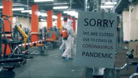 Closed fitness center is getting sanitized during quarantine