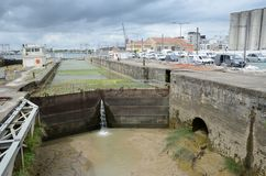 Sluice in the dock of Bordeaux Stock Images
