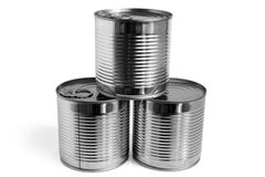 Closed food tin cans Royalty Free Stock Image