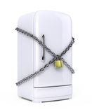 Closed fridge with chain and lock. Diet concept Stock Images