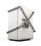 Closed fridge with chain and lock close-up Stock Photography